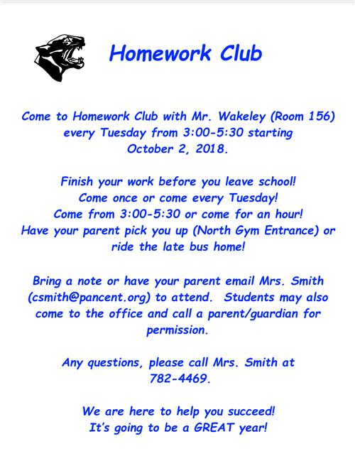 Homework Club Information